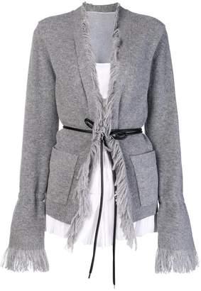 Sacai fringed layered cardigan
