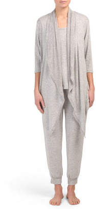 3pc Drape Top With Capri Jogger Pj Set