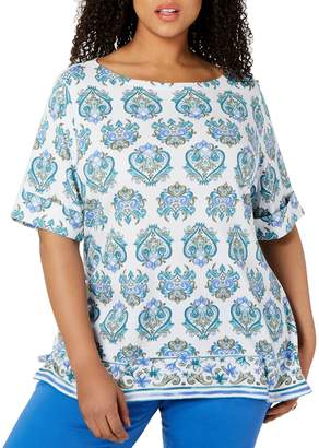 Karen Scott Plus Printed Cotton Blend Tee