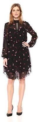 Rachel Roy Women's Longsleeve Printed Chiffon Elastic Waist Dress