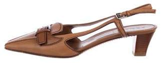 Prada Leather Low-Heel Pumps Brown Leather Low-Heel Pumps