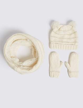 Marks and Spencer Kids' Chenille Hat, Snood & Mittens Set