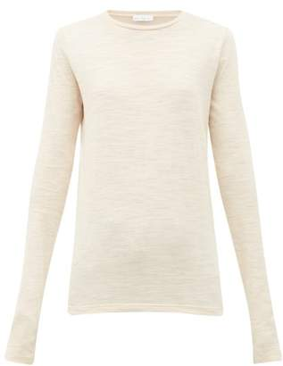 Raey Slubby Crew Neck Long Sleeve Top - Womens - Nude