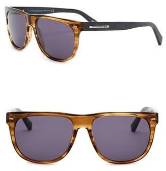 Zegna Uomo Men's Square 56mm Acetate Frame Sunglasses