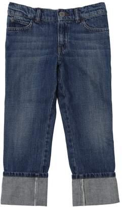 Gucci Washed Cotton Denim Jeans W/ Web Detail