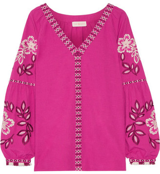 Tory Burch - Therese Embroidered Cotton Top - Fuchsia $350 thestylecure.com