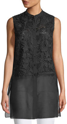 Lafayette 148 New York Indira Sleeveless Sheer-Hem Blouse, Black
