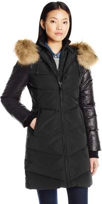 Rudsak Rud by Women's MYA Zip Front Down Coat with Fur Hood Trim