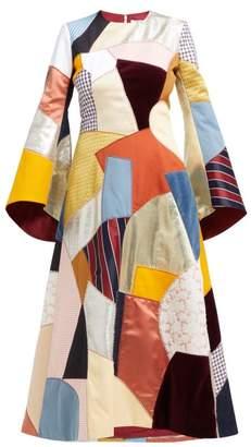 9ba996679412 Françoise Francoise - Patchwork Trumpet Sleeve Midi Dress - Womens - Multi