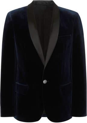Balmain Satin-Trimmed Velvet Blazer