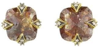 Cathy Waterman Rustic Diamond Stud Earrings - 22 Karat Gold