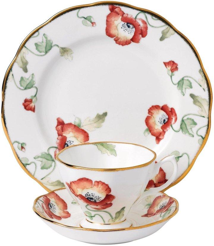 "Royal Albert 100 Years 1970 Teacup, Saucer & Plate Set - Poppy - 8"" - 3 pc"