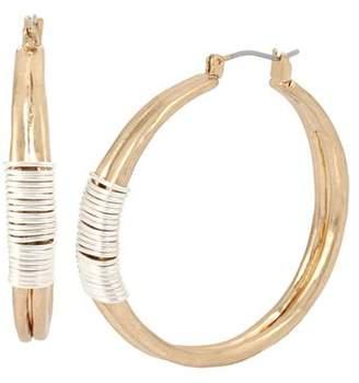 Robert Lee Morris Soho Two-Tone Wire Wrap Hoop Earrings