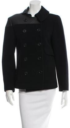 Yohji Yamamoto Wool Lather-Paneled Coat $245 thestylecure.com