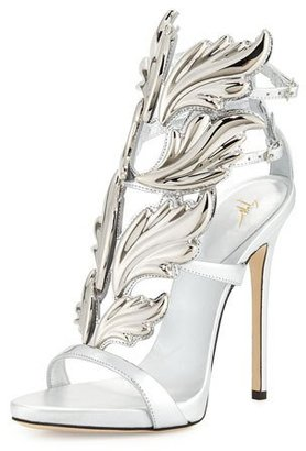 Giuseppe Zanotti Coline Wings Leather 110mm Sandal, Argento $1,595 thestylecure.com