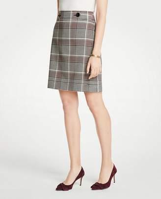 Ann Taylor Petite Plaid Button Tab A-Line Skirt