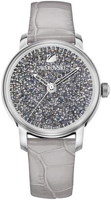 Swarovski Women's Swiss Crystalline Hours Gray Leather Strap Watch 38mm