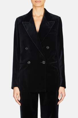 Acne Studios Double Breasted Velvet Suit Jacket - Navy Blue