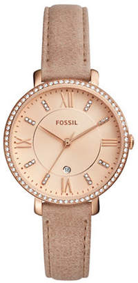 Fossil Jacqueline Crystal Analog Leather Strap Watch