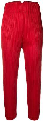 Pleats Please Issey Miyake micro-pleated high-waist trousers