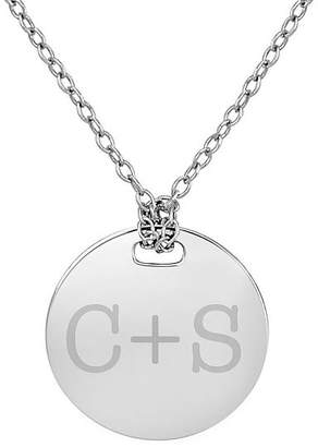 FINE JEWELRY Personalized Sterling Silver 16mm Round Couple's Initial Pendant Necklace