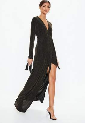 Missguided Gold Glitter Wrap Split Maxi Dress, Gold