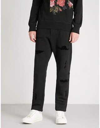 Alexander McQueen Distressed cotton-jersey jogging bottoms