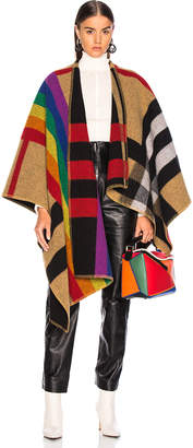 Burberry Rainbow Stripe Check Blanket Cape