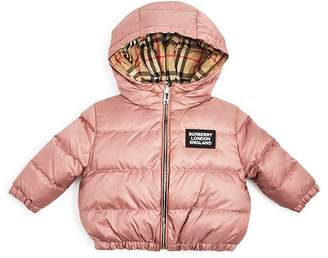Burberry Girls' Rayan Reversible Hooded Down Jacket - Baby