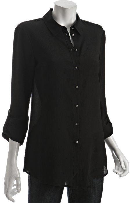 Drew blush silk crepe button front blouse