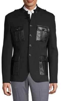 Pierre Balmain Mockneck Buttoned Jacket