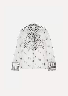 Burberry Pussy-bow Printed Silk-chiffon Blouse