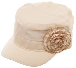 Time and Tru Women's Oatmeal Cadet Cap with Woven Zipper Rose Embellishment