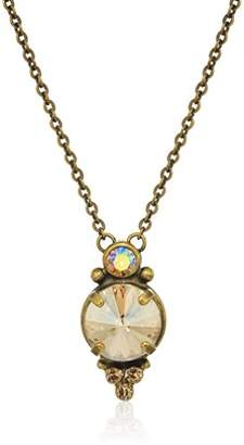 Sorrelli Core Antique Gold Tone Neutral Territory Radiant Round Pendant Necklace