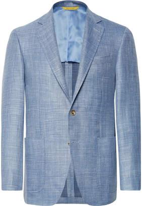 Canali Blue Kei Slim-Fit Mélange Wool, Silk, Linen-Blend Blazer