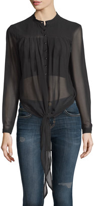 Philosophy Long-Sleeve Tie-Front Tunic, Black $69 thestylecure.com