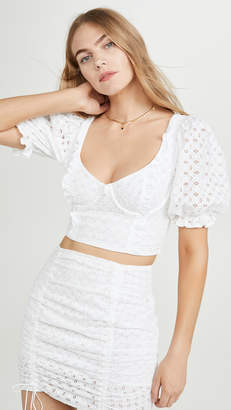 For Love & Lemons Sand Dollar Lace Up Top