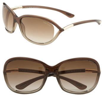 Women's Tom Ford 'Jennifer' 61Mm Oval Oversize Frame Sunglasses - Brown / Bronze