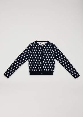 Armani Junior Knit Cardigan With Heart Motif