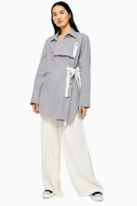 Topshop Womens **Wrap Striped Shirt By Boutique - Monochrome