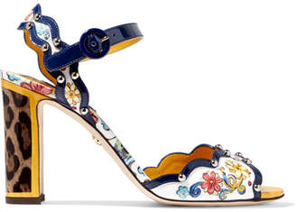 Dolce & Gabbana Studded Printed Patent-leather Sandals - Blue
