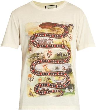 GUCCI Snake-print cotton T-shirt $590 thestylecure.com