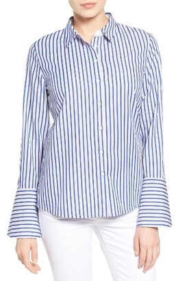 Women's Kut From The Kloth Luz Stripe Bell Cuff Shirt $78 thestylecure.com