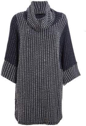 Quiz Navy And Cream Knit 3/4 Sleeve Batwing Top