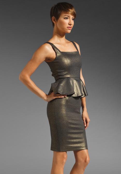 Alice + Olivia Dahlia Square Neck Peplum Dress in Grey/Gold