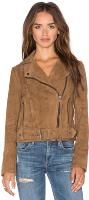 Muubaa Warren Belted Biker Jacket $550 thestylecure.com