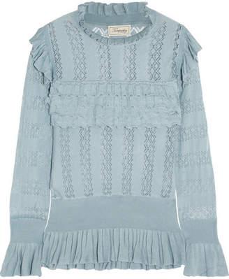 Temperley London Cypre Ruffled Pointelle-knit Sweater - Blue