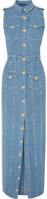 Balmain Cotton And Linen-blend Chambray Maxi Dress - Light denim