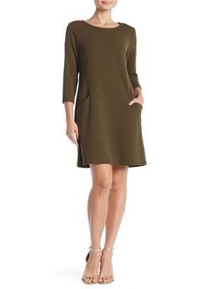 Nina Leonard Crew Neck 3/4 Length Sleeve Swing Dress