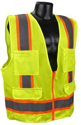 US2LN16 Class 2 Solid Surveyor Safety Vest - Yellow/Lime - Large, Solid Polyester Material By Full Source